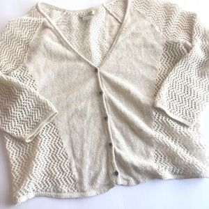 Lucky Brand Cream crochet Cardigan M (2/$15 item)